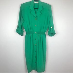 Vintage Emerald Green Dress with Pockets